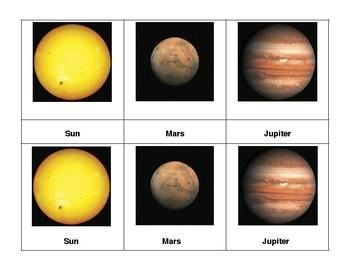 Montessori 3 part Language Cards - Planets