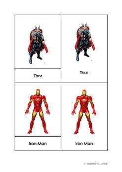 Montessori 3 part cards - Superheroes