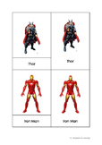 Montessori 3 part cards - Superheroes