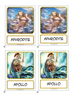 "Montessori 3 part cards for: ""Ancient Greek Gods"""