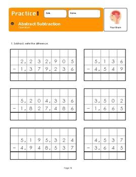 Montessori Abstract Subtraction Workbook