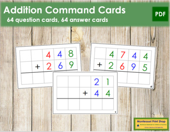 Addition Command Cards - color coded
