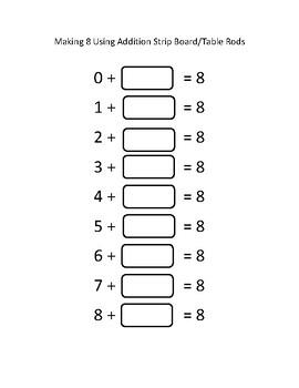Montessori Addition Strip Boards or Table Rods Math Resource Pre-K Primary