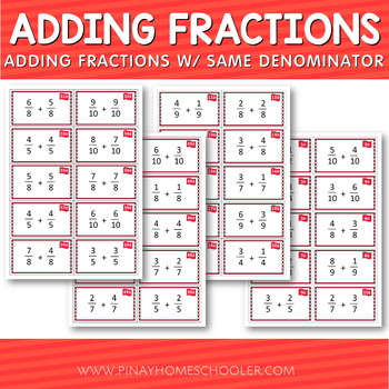 Montessori Adding Fractions with Same Denominator Cards