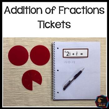 Montessori Addition of fraction tickets