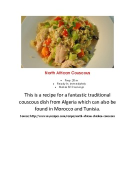 Montessori Africa Pre-K Elementary Cooking Couscous Visual Recipe Reggio