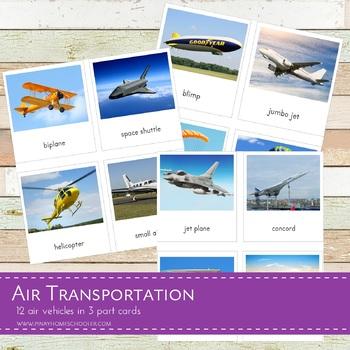 Montessori Air Transportation 3 Part Cards