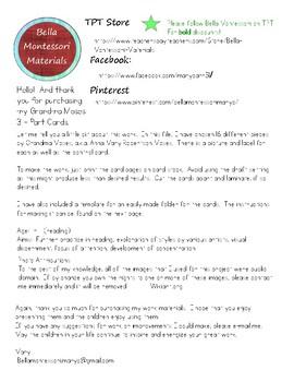Montessori Art - Grandma Moses 3 - Part Cards