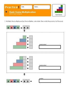 Montessori Bank Game Multiplication with 2-digit Multiplier Workbook