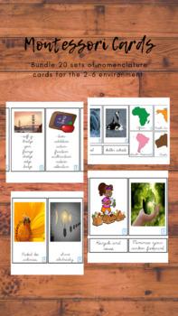 Montessori Basic Start Up Nomenclature Card Set in Dnealian Cursive