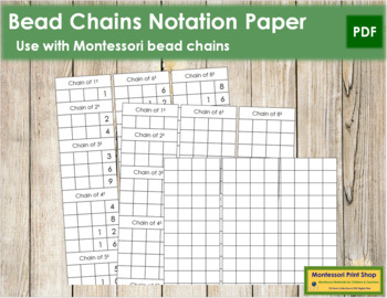 Bead Chain Notation Paper - Montessori
