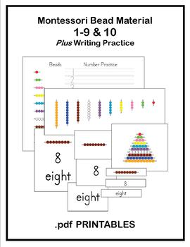 Montessori Bead Worksheets & Cards Numbers 1-10