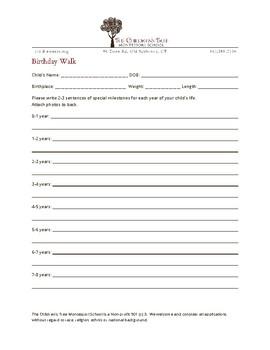 Montessori Birthday Walk Form