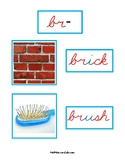 Montessori Blue Series Photo and Word Cards in Cursive