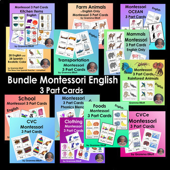 Montessori Bundle 3 Part Cards - English Only