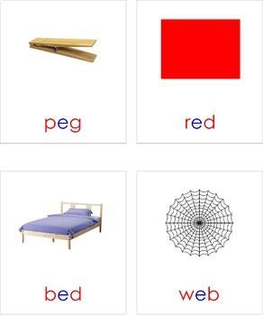 Montessori CVC Reading Cards Vowel E