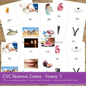 Montessori CVC Reading Cards Vowel I