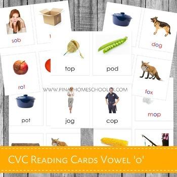 Montessori CVC Reading Cards Vowel O