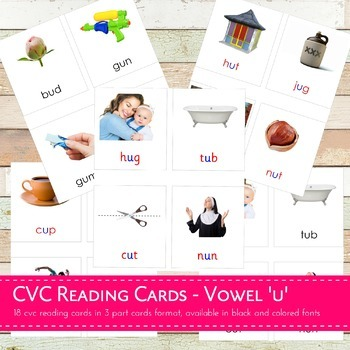 Montessori CVC Reading Cards Vowel U