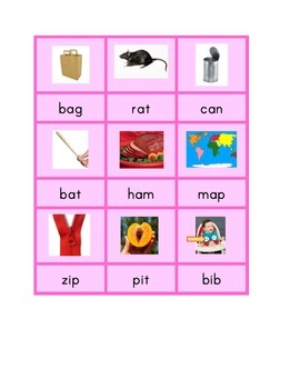 "Montessori CVC Phonics Spelling Cards - ""Pink Series"""