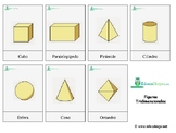 3-D Shapes= *SPANISH* Montessori 3-part cards