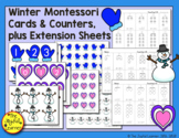 Montessori Cards and Counters:  Winter-Themed Extension Pages