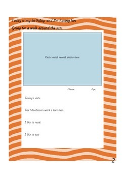 Montessori 'Celebration of Life' Birthday Template Pack