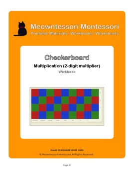 Montessori Checkerboard Multiplication with 2-digit Multiplier Workbook
