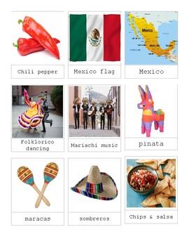 Montessori Cinco de Mayo 3 Part Cards Language Continent Study