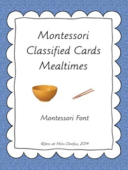 Montessori Classified 3 Part Cards Basic Eating Mealtimes 12 Cards