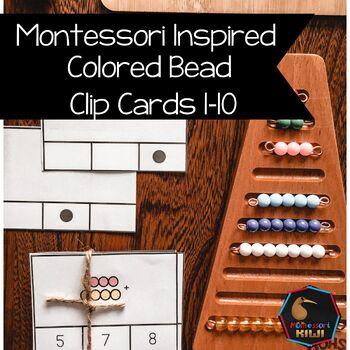 Montessori Colored beads clip cards 1-10