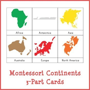 Montessori Continents 3-Part Cards