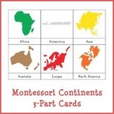 Montessori Continents 3-Part Cards