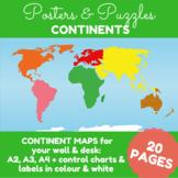 Montessori Continents Puzzle Maps (A2, A3, A4 sizes) #montessorilove