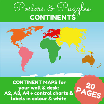 Oceans and continents labeled map teaching resources teachers pay montessori continents puzzle maps a2 a3 a4 sizes gumiabroncs Image collections