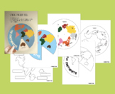 Montessori Continents Spanish, English / Color, Black & White / Wheel, Worksheet