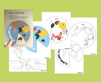 Montessori Continents Spanish, English / Color, Black & White / Wheel, Worksheet