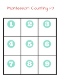 Montessori Counting 1-9 (With Picture Counters)