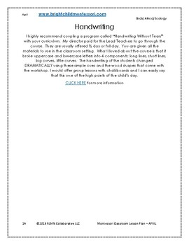 Montessori DAILY Lesson Plan APRIL 4 weeks of curriculum