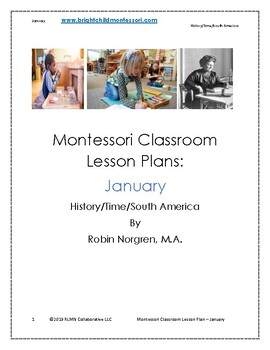Montessori DAILY Lesson Plan JANUARY 4 weeks of curriculum
