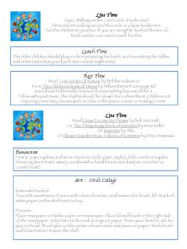 Montessori Daily Lesson Plan #5