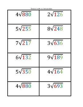 Montessori Division Cards