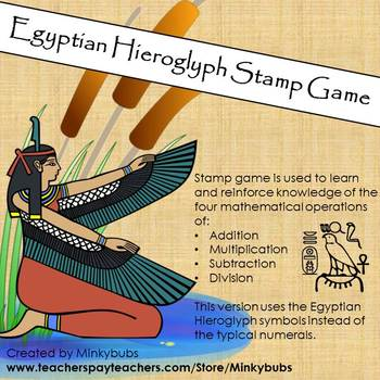 Montessori Egyptian Hieroglyph Stamp Game Add Multiply Subtract Divide