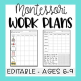 Montessori Elementary 6-9 Work Plans - Editable