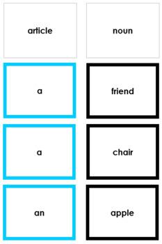 Montessori Elementary Grammar Box #2 - Articles (Primary Color Borders)