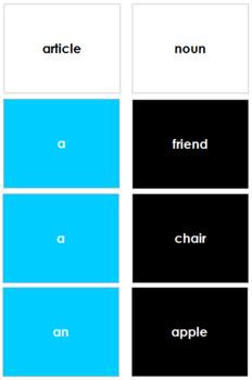 Montessori Elementary Grammar Box #2 - Articles (Primary Colors)
