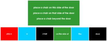 Montessori Elementary Grammar Box #5 - Prepositions (Primary Colors)