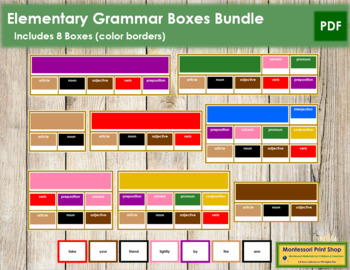 Montessori Elementary Grammar Boxes #2 - 9  Bundle (Color Borders)