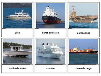 Montessori En Español Land Water Air Transportation 3 Part Cards