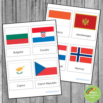 Montessori European Flags in 3 Part Cards and Blackline Masters